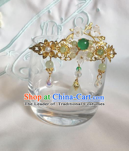 Asian Chinese Traditional Headdress Green Agate Hair Accessories Hairpins, China Ancient Handmade Bride Hanfu Tassel Step Shake Headwear for Women