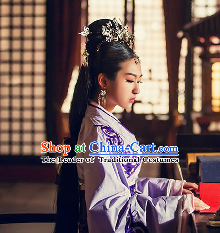 Traditional Ancient Chinese Female Embroidered Costume, Chinese Han Dynasty Palace Princess Purple Dress Hanfu Clothing for Women