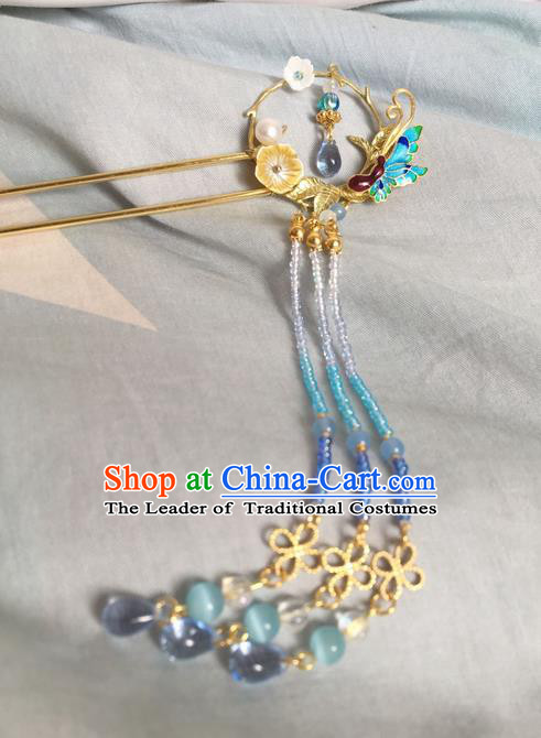 Asian Chinese Traditional Headdress Cloisonne Butterfly Hair Accessories Hairpins, China Ancient Handmade Bride Hanfu Tassel Step Shake Headwear for Women