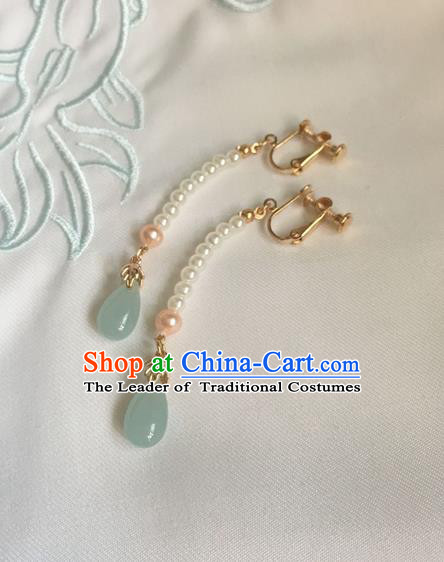Asian Chinese Traditional Headdress Beads Tassel Earrings, China Ancient Handmade Bride Hanfu Green Crystal Eardrop for Women