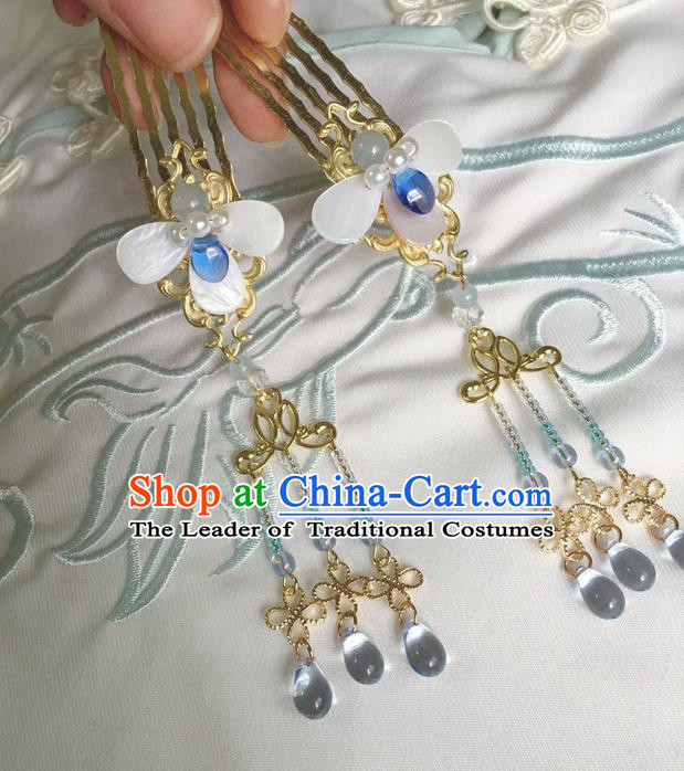 Asian Chinese Traditional Headdress Hair Accessories Hairpins, China Ancient Handmade Bride Hanfu Tassel Step Shake Hair Comb Headwear for Women