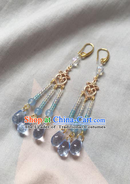 Asian Chinese Traditional Headdress Beads Tassel Earrings, China Ancient Handmade Bride Hanfu Blue Crystal Eardrop for Women