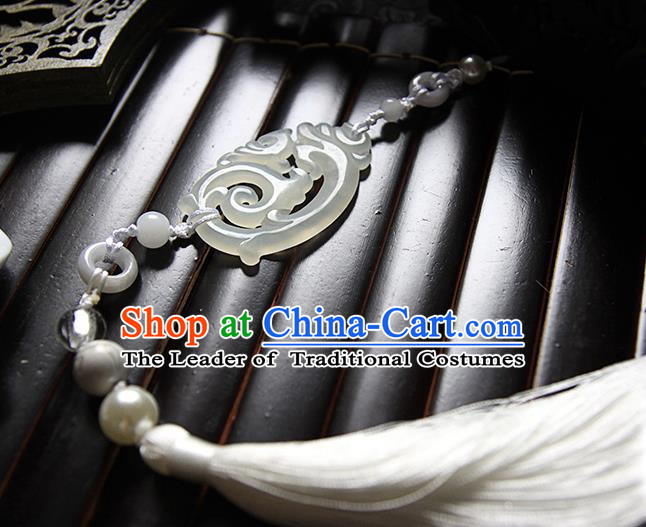 Top Grade Handmade Traditional China Jewelry Accessories Jade Pendant, Ancient Chinese Hanfu Tassel Waist Decorations for Men