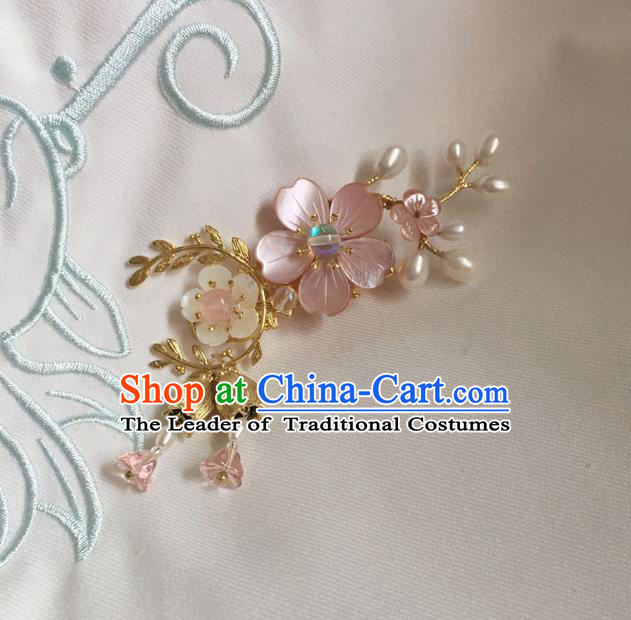 Asian Chinese Traditional Headdress Shell Hair Accessories Hairpins, China Ancient Handmade Bride Hanfu Pink Crystal Flowers Hair Stick Headwear for Women
