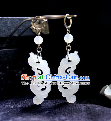Top Grade Handmade Traditional China Jewelry Accessories Jade Earrings, Ancient Chinese Hanfu Tassel Eardrop for Women