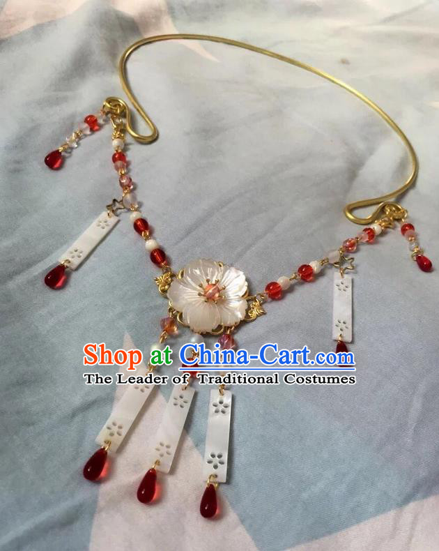 Asian Chinese Traditional Headdress Pearls Tassel Necklace, China Ancient Handmade Bride Hanfu Red Crystal Collar Necklet for Women