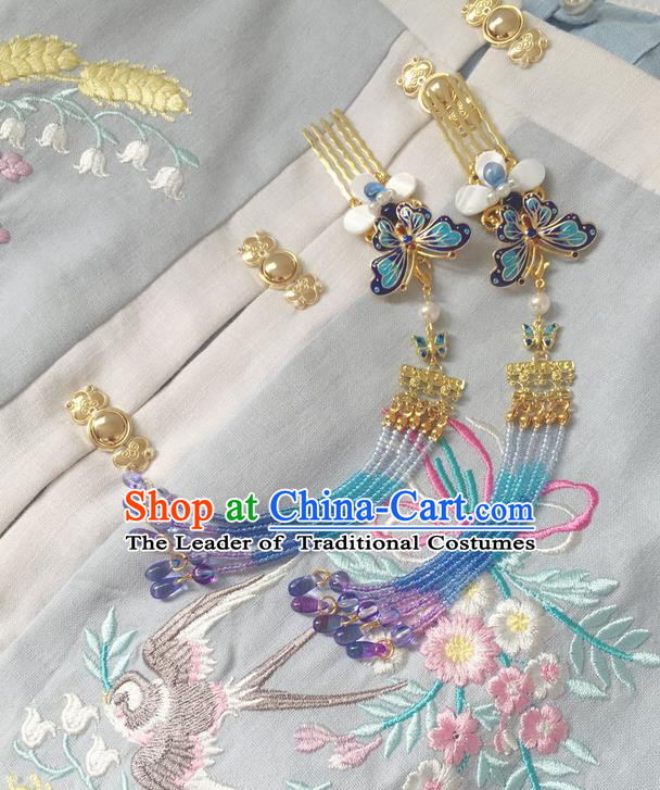 Asian Chinese Traditional Headdress Blueing Butterfly Beads Hair Accessories Hairpins, China Ancient Handmade Bride Hanfu Tassel Step Shake Headwear for Women