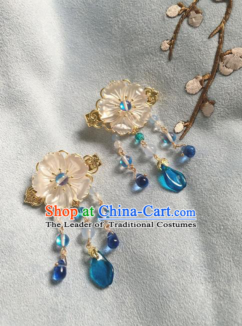 Asian Chinese Traditional Headdress Blue Crystal Hair Accessories Hairpins, China Ancient Handmade Bride Hanfu Tassel Step Shake Headwear for Women