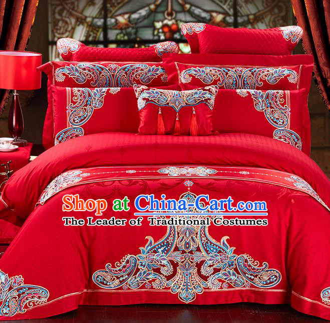 Traditional Asian Chinese Style Wedding Article Palace Lace Qulit Cover Bedding Sheet Bed Flag Complete Set, Embroidered Satin Drill Eleven-piece Duvet Cover Textile Bedding Suit