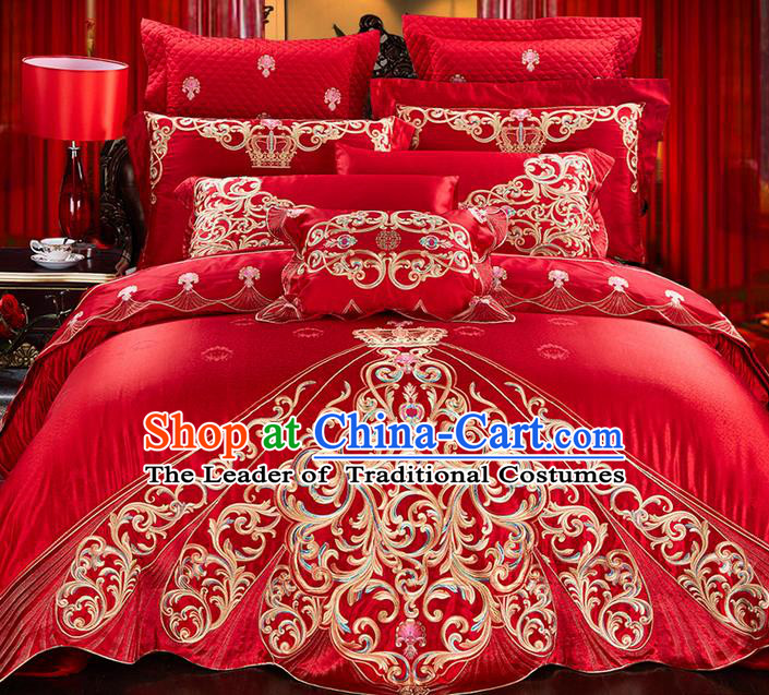 Traditional Asian Chinese Style Wedding Article Palace Lace Qulit Cover Bedding Sheet Complete Set, Embroidered Ombre Flowers Satin Drill Eleven-piece Duvet Cover Textile Bedding Suit