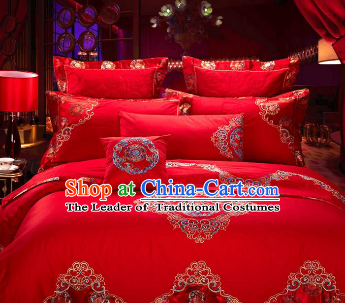 Traditional Asian Chinese Style Wedding Article Palace Lace Qulit Cover Bedding Sheet Complete Set, Embroidered Good Fortune Satin Drill Ten-piece Duvet Cover Textile Bedding Suit