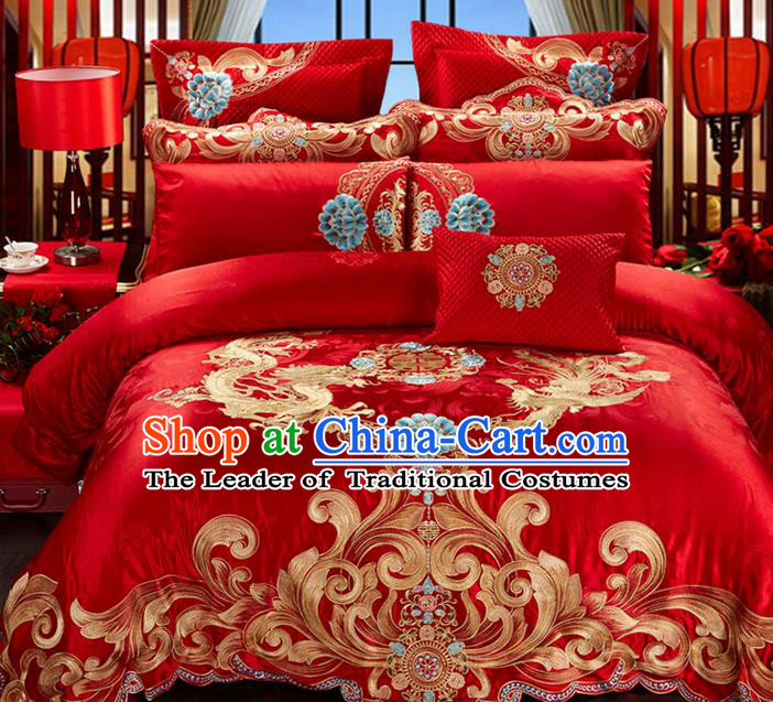 Traditional Asian Chinese Style Wedding Article Palace Lace Qulit Cover Bedding Sheet Complete Set, Embroidered Dragon and Phoenix Satin Drill Ten-piece Duvet Cover Textile Bedding Suit