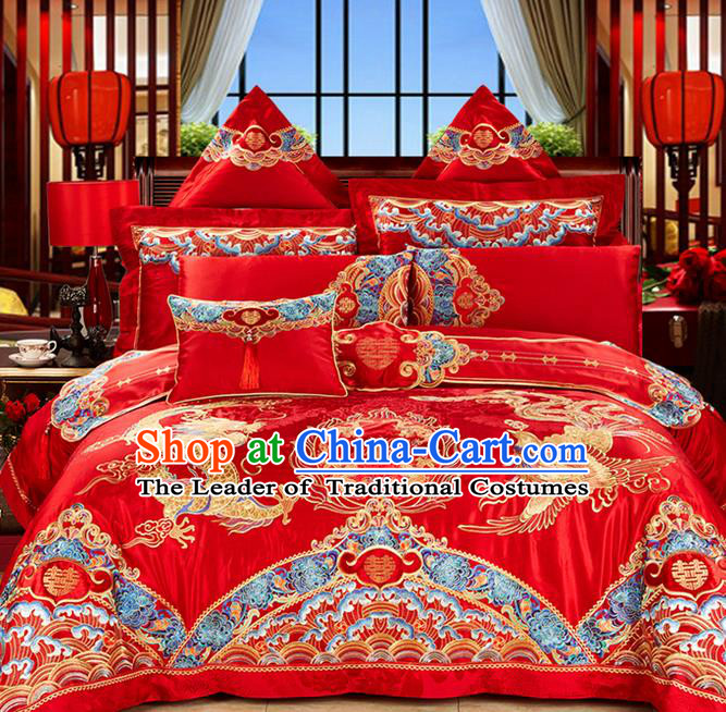 Traditional Asian Chinese Style Wedding Article Palace Lace Qulit Cover Bedding Sheet Complete Set, Embroidered Dragon and Phoenix Satin Drill Eleven-piece Duvet Cover Textile Bedding Suit