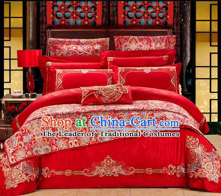 Traditional Asian Chinese Wedding Palace Qulit Cover Bedding Sheet Complete Set, Embroidered Flowers Satin Drill Ten-piece Duvet Cover Textile Bedding Suit