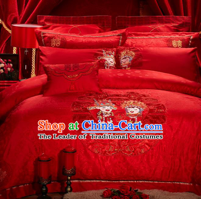 Traditional Asian Chinese Wedding Palace Qulit Cover Bedding Sheet Ten-piece Suit, Embroidered Beijing Opera Bride Satin Drill Duvet Cover Textile Bedding Complete Set