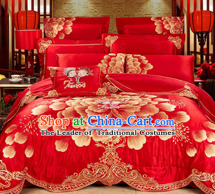 Traditional Asian Chinese Wedding Palace Qulit Cover Bedding Sheet Ten-piece Suit, Embroidered Peony Satin Drill Duvet Cover Textile Bedding Complete Set