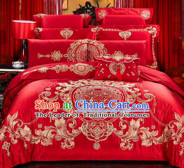 Traditional Asian Chinese Wedding Palace Qulit Cover Bedding Sheet Ten-piece Suit, Embroidered Double Happiness Satin Drill Duvet Cover Textile Bedding Complete Set