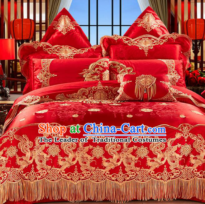 Traditional Asian Chinese Wedding Palace Qulit Cover Bedding Sheet Ten-piece Suit, Embroidered Dragon and Phoenix Satin Drill Duvet Cover Textile Bedding Complete Set