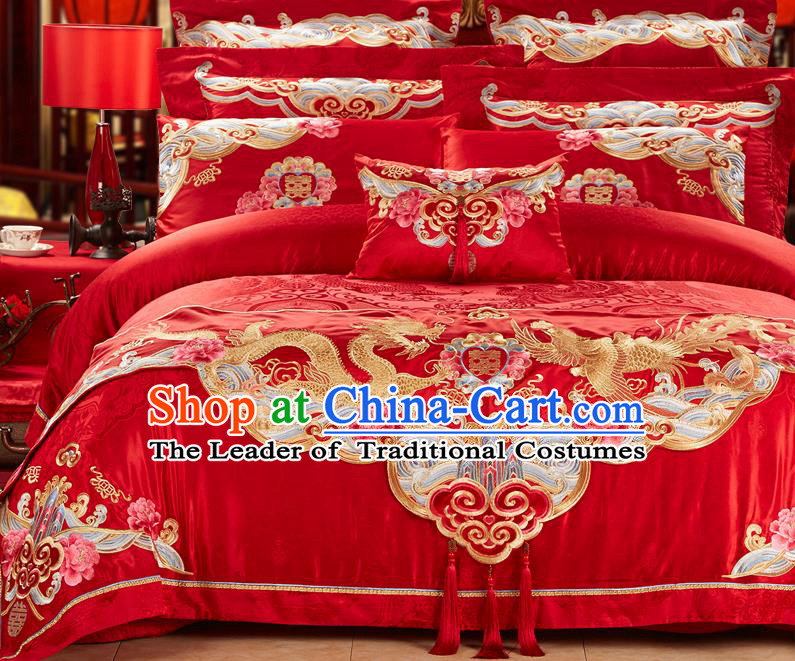 Traditional Asian Chinese Wedding Palace Qulit Cover Bedding Sheet Eleven-piece Suit, Embroidered Peony Dragon and Phoenix Satin Drill Duvet Cover Textile Bedding Complete Set