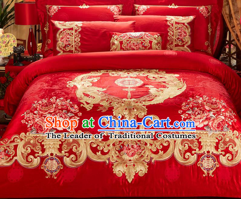 Traditional Asian Chinese Wedding Palace Qulit Cover Bedding Sheet Ten-piece Suit, Embroidered Peony Dragon and Phoenix Satin Drill Duvet Cover Textile Bedding Complete Set