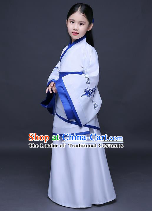 Traditional Ancient Chinese Imperial Princess Printing Phoenix Costume, Children Elegant Hanfu Clothing Chinese Han Dynasty White Curve Bottom Dress Clothing for Kids