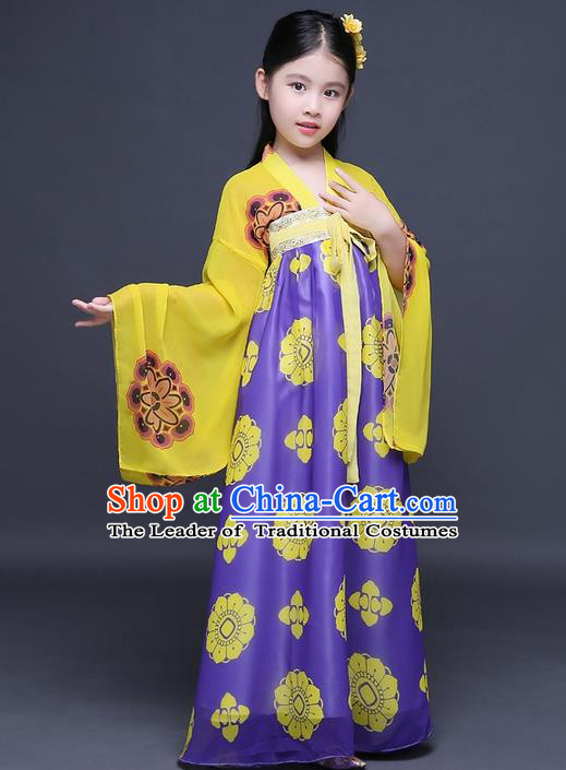 Traditional Ancient Chinese Imperial Princess Fairy Printing Phoenix Costume, Children Elegant Hanfu Clothing Chinese Tang Dynasty Purple Ruqun Dress Clothing for Kids