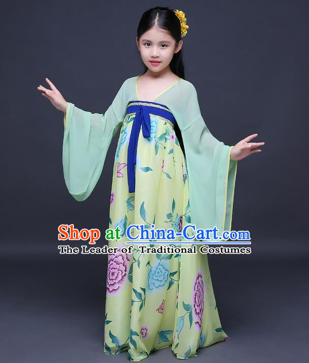 Traditional Ancient Chinese Imperial Princess Fairy Printing Phoenix Costume, Children Elegant Hanfu Clothing Chinese Tang Dynasty Green Ruqun Dress Clothing for Kids