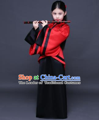 Traditional Ancient Chinese Imperial Princess Fairy Printing Costume, Children Elegant Hanfu Clothing Han Dynasty Black Curve Bottom Dress Clothing for Kids