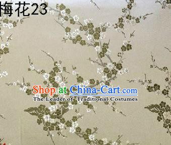 Asian Chinese Traditional Embroidery Plum Blossom Beige Silk Fabric, Top Grade Brocade Embroidered Tang Suit Hanfu Dress Fabric Cheongsam Material