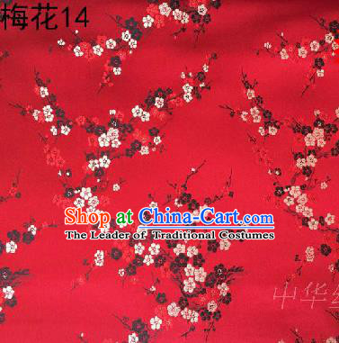 Asian Chinese Traditional Embroidery Plum Blossom Red Silk Fabric, Top Grade Brocade Embroidered Tang Suit Hanfu Dress Fabric Cheongsam Material