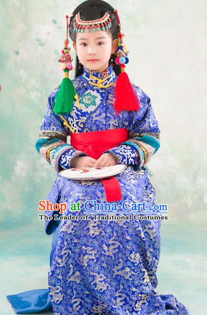Traditional Ancient Chinese National Minority Princess Costume, Mongol Nationality Children Elegant Hanfu Clothing Mongolian Robe for Kids