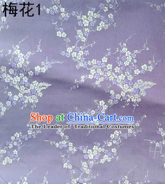 Asian Chinese Traditional Embroidery Plum Blossom Lilac Silk Fabric, Top Grade Brocade Embroidered Tang Suit Hanfu Dress Fabric Cheongsam Material