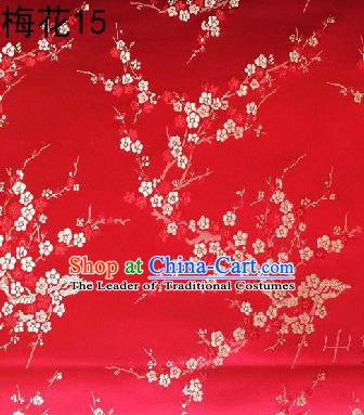 Asian Chinese Traditional Embroidery White Plum Blossom Red Silk Fabric, Top Grade Brocade Embroidered Tang Suit Hanfu Dress Fabric Cheongsam Material