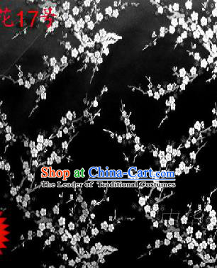 Asian Chinese Traditional Embroidery White Plum Blossom Black Silk Fabric, Top Grade Brocade Embroidered Tang Suit Hanfu Dress Fabric Cheongsam Material