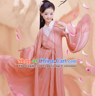 Traditional Ancient Chinese Apsara Girls Embroidery Wedding Costume, Children Elegant Hanfu Clothing Tang Dynasty Princess Fairy Pink Dress Clothing for Kids