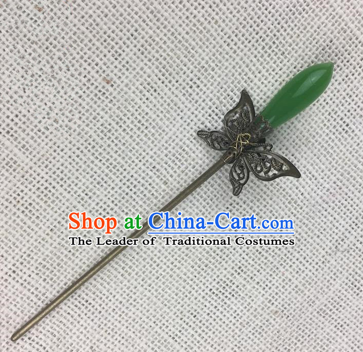Asian Chinese Traditional Headdress Butterfly Hair Accessories Hairpins, China Ancient Handmade Bride Hanfu Step Shake Headwear for Women