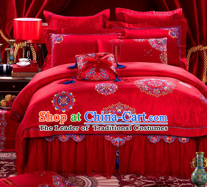 Traditional Asian Chinese Style Wedding Article Embroidery Satin Drill Bedding Sheet Complete Set, Duvet Cover Red Textile Bedding Suit