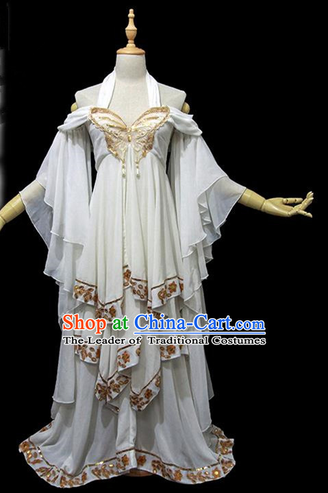 Traditional Ancient Chinese Female Embroidered Butterfly Dance Costume, Chinese Tang Dynasty Imperial Fairy Dress Hanfu Clothing for Women