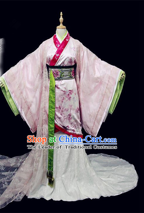 Traditional Ancient Chinese Imperial Concubine Embroidered Dance Costume, Chinese Han Dynasty Princess Dress Hanfu Clothing for Women
