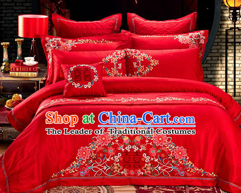 Traditional Asian Chinese Style Wedding Article Embroidery Happy Character Satin Drill Bedding Sheet Complete Set, Duvet Cover Phoenix Red Lace Textile Bedding Six-piece Suit