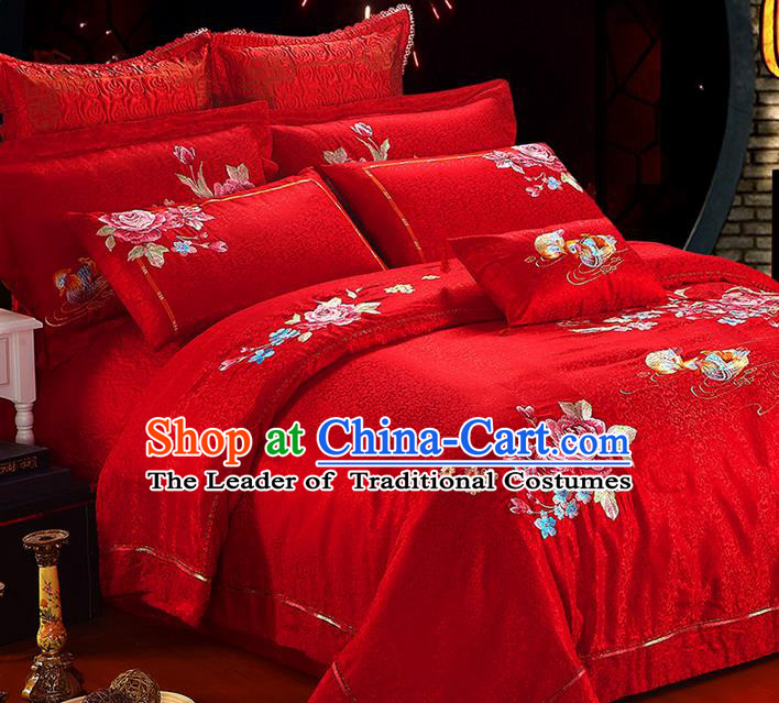 Traditional Asian Chinese Style Wedding Article Embroidery Peony Satin Drill Bedding Sheet Complete Set, Duvet Cover Mandarin Duck Red Lace Textile Bedding Ten-piece Suit