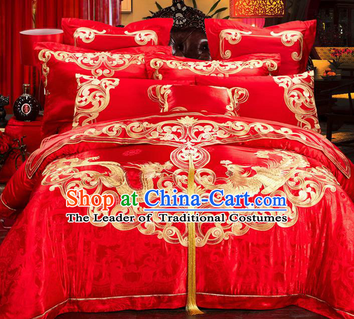 Traditional Asian Chinese Style Wedding Article Embroidery Dragon and Phoenix Bedding Sheet Complete Set, Duvet Cover Red Satin Drill Textile Bedding Ten-piece Suit