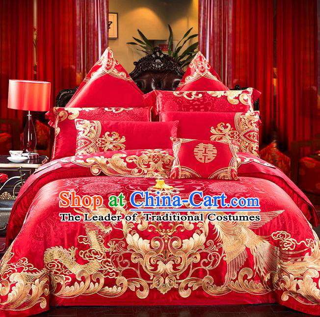 Traditional Asian Chinese Style Wedding Article Embroidery Dragon and Phoenix Bedding Sheet Complete Set, Peony Duvet Cover Red Satin Drill Textile Bedding Ten-piece Suit