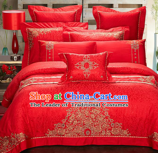 Traditional Asian Chinese Style Wedding Article Embroidery Jacquard Weave Bedding Sheet Complete Set, Red Eleven-piece Duvet Cover Satin Drill Textile Bedding Suit