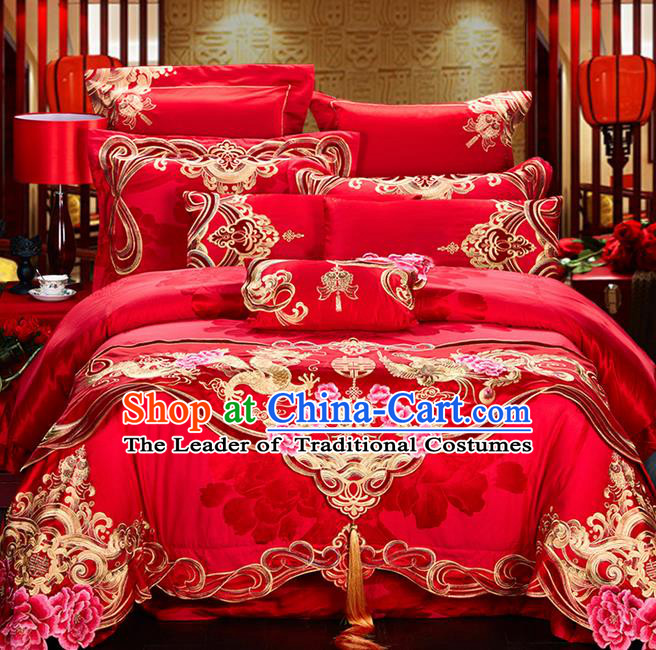 Traditional Asian Chinese Style Wedding Article Jacquard Weave Bedding Sheet Complete Set, Embroidery Dragon and Phoenix Red Eleven-piece Duvet Cover Satin Drill Textile Bedding Suit