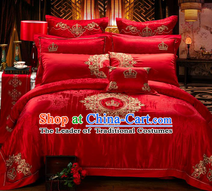 Traditional Asian Chinese Style Wedding Article Jacquard Weave Bedding Sheet Complete Set, Embroidery Royal Crown Red Ten-piece Duvet Cover Satin Drill Textile Bedding Suit
