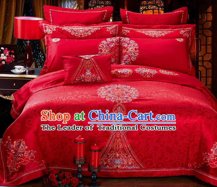 Traditional Asian Chinese Style Wedding Article Embroidery Jacquard Weave Satin Drill Bedding Sheet Complete Set, Duvet Cover Red Textile Bedding Suit