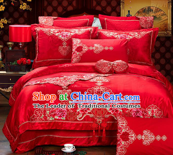 Traditional Asian Chinese Style Wedding Article Jacquard Weave Bedding Sheet Complete Set, Embroidery Peony Red Eight-piece Duvet Cover Satin Drill Textile Bedding Suit