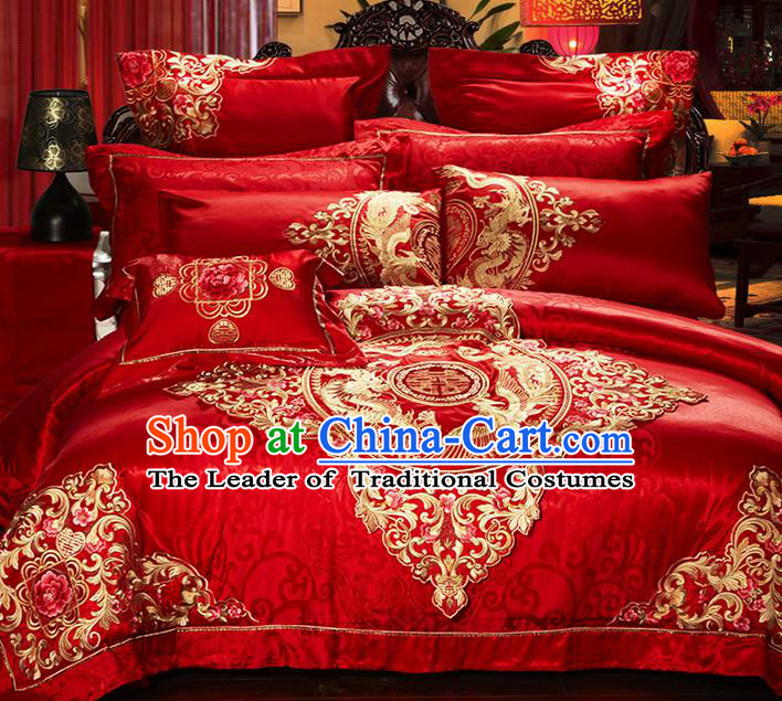 Traditional Asian Chinese Style Wedding Article Bedding Sheet Complete Set, Embroidery Dragon and Phoenix Red Eleven-piece Duvet Cover Satin Drill Textile Bedding Suit