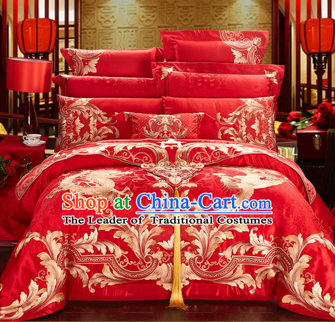 Traditional Asian Chinese Style Wedding Article Bedding Sheet Complete Set, Golden Embroidery Dragon and Phoenix Red Eleven-piece Duvet Cover Satin Drill Textile Bedding Suit